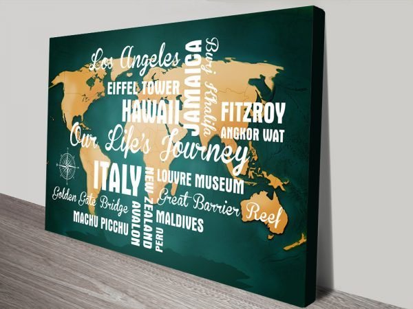 Personalised Dark Green Push Pin Map with Words