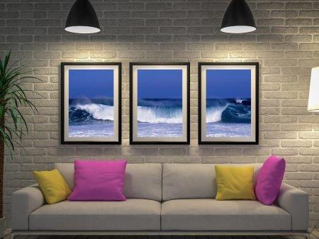Waves Surf Three Piece Wall Art Picture Sydney