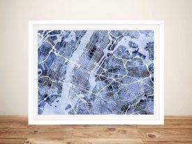 Buy a Print of NYC Street Map in Grey Tones