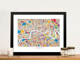 Buy Colourful London Street Map Canvas Art