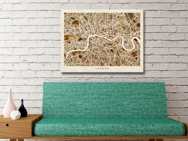 Buy London Street Map Canvas Art Cheap Online