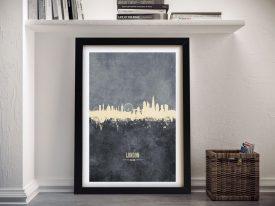 Buy a Framed Print of London's Skyline in Grey