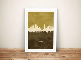 Buy a Tan Chicago Skyline Canvas Print