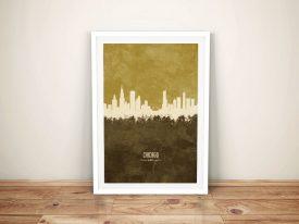 Buy a Tan Chicago Skyline Canvas Print