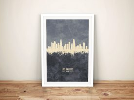 Buy A Los Angeles Two-Tone Grey Skyline Print