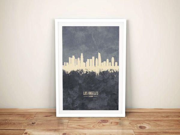 Buy A Los Angeles Two-Tone Grey Skyline Print