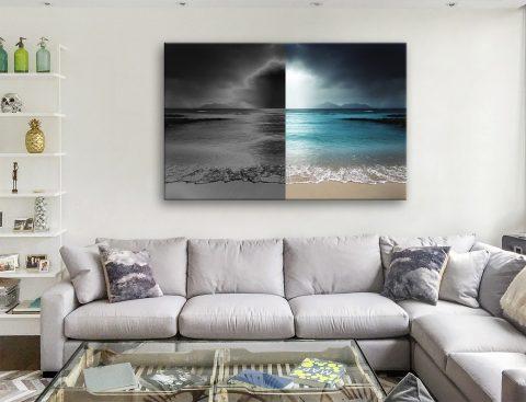 Ocean Black White Canvas Artwork