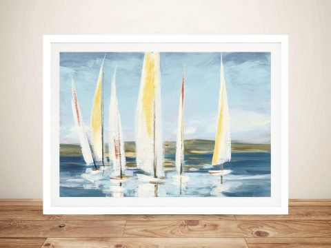 Buy Horizon with Red Nautical Canvas Art