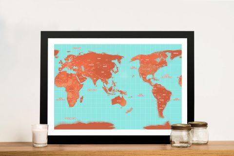 Australia-Centric Turquoise and Orange Push Pin World Map