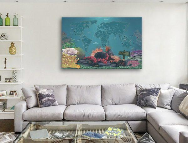 Custom Diving Spot Map Canvas Artwork
