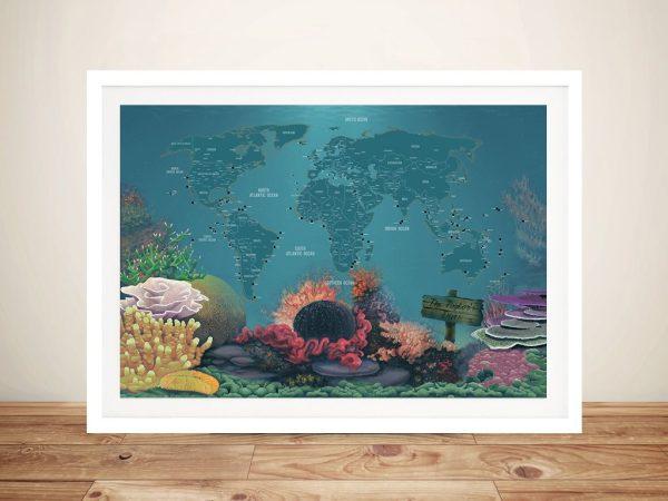 Diving Spot Travel Map Framed Wall Art
