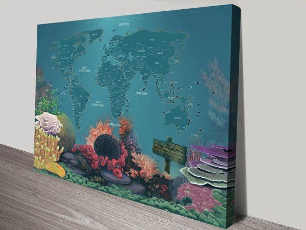 Personalised Diving Spot Push Pin Map canvas print