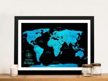 Custom Blue Push Pin Map with Pins-Framed-Wall-Art