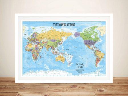 Australia Centred Custom World Map