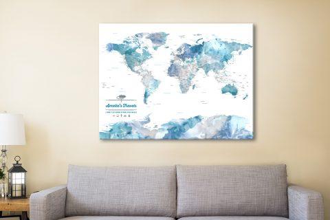 Personalised Blue Watercolour Push Pin Map Art Australia