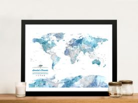 Blue Watercolour Pushpin Map Art Print