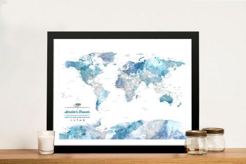Blue Watercolour Pushpin Map Art Print