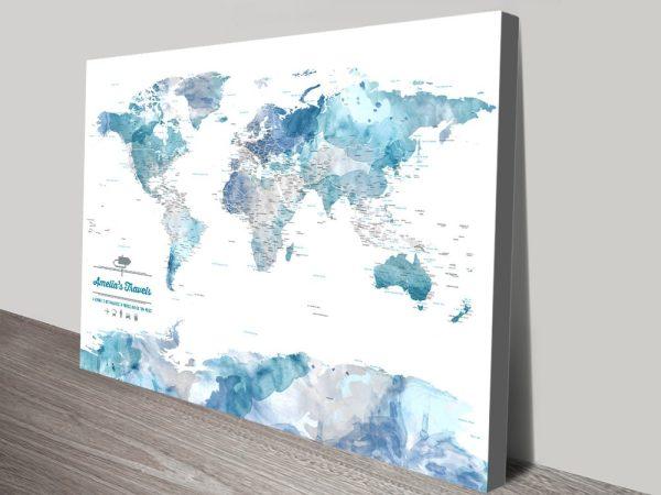 Blue Watercolour Push Pin Map Art Canvas Print
