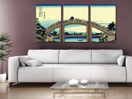 Buy Fuji Seen Through Mannen Bridge Hokusai Triptych