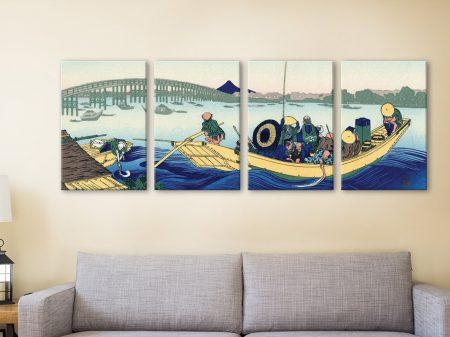 Buy Sunset Across the Ryogoku Bridge 4-Panel Art