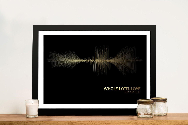 Led Zeppelin Black and Gold Waveform Art