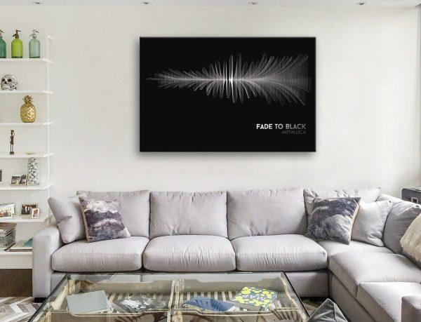 Fade to Black Affordable Soundwave Canvas Art