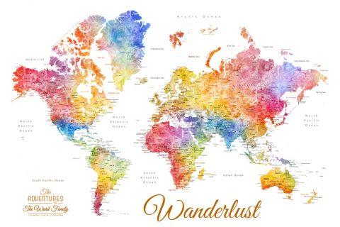 Watercolour Pinboard World Map