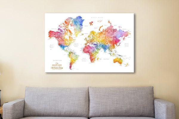 Watercolour Splash World Map Canvas Artwork