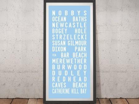 Nobbys Beach Pastel Blue Framed Wall Art