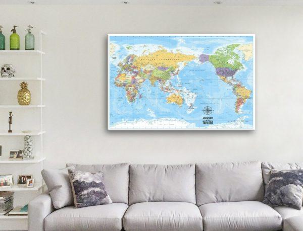 Custom Pacific Centred World Map Canvas Artwork