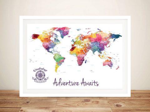 Customised Watercolour Splash World Map Framed Wall Art