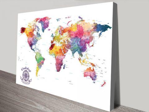 Personalised Watercolour Splash Push Pin World Map