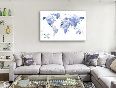 Blue Watercolour Push Pin Map Canvas Artwork
