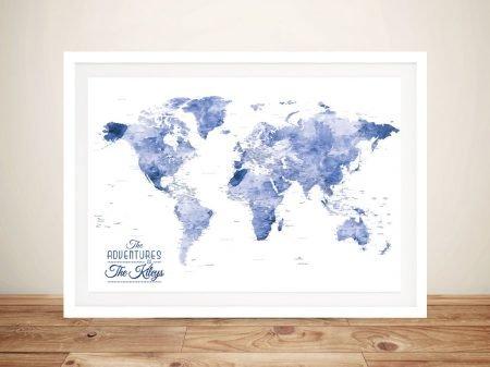 Blue Watercolour Splash World Map Framed Wall Art