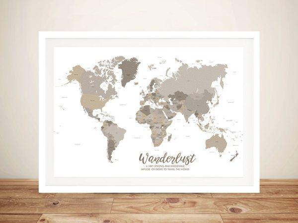Bronze World Map Framed Art