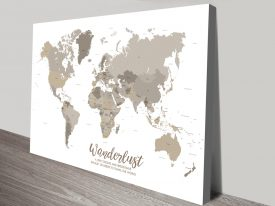 Custom Bronze World Map canvas Art