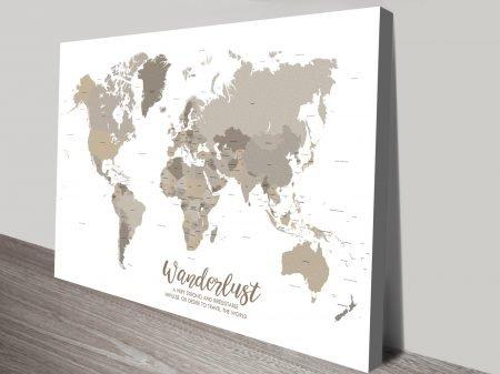 Custom Bronze World Map canvas Art