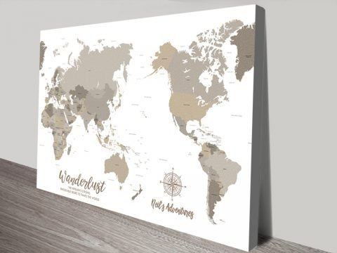 Bronze Pacific Centric Map Canvas Print
