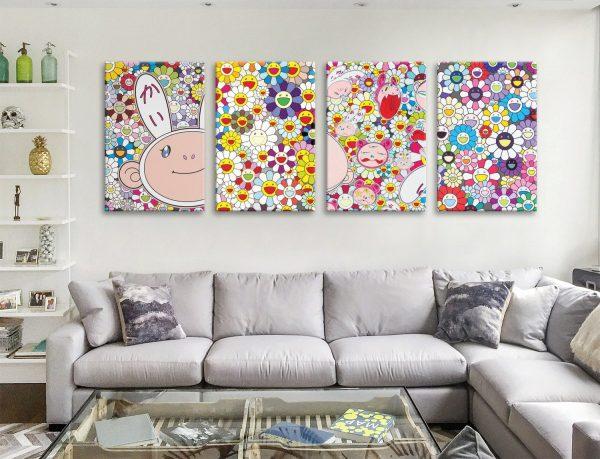 Buy Takashi Murakami Colourful Four Panel Art
