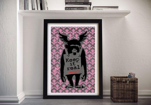 Banksy Keep it Real Pink Fleur-de-Lys Art Print