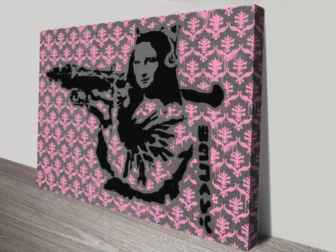 Mona Bazooka-Banksy Pink Pattern canvas print