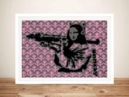 Mona Lisa Bazooka-Banksy Pink-Pattern Framed Wall Art
