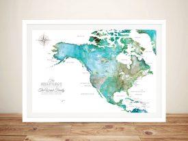USA Green Tones Watercolour Pinboard Map Art