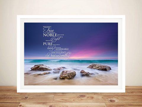 Quote artwork for Philippians 4:8-quote sunset art