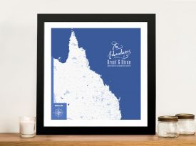 Personalised Queensland Map-Framed Wall Art