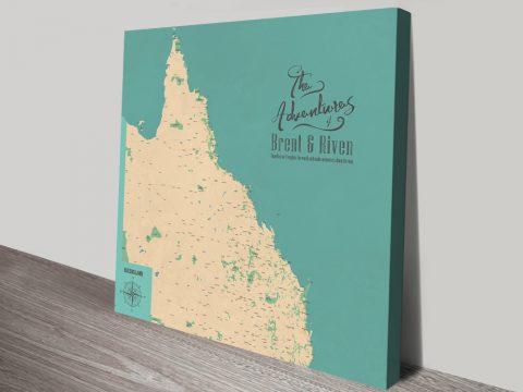 Personalised Queensland Push Pin Map Wall Artwork Australia