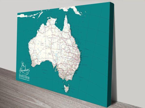 Buy Custom Map of Australia Canvas Art