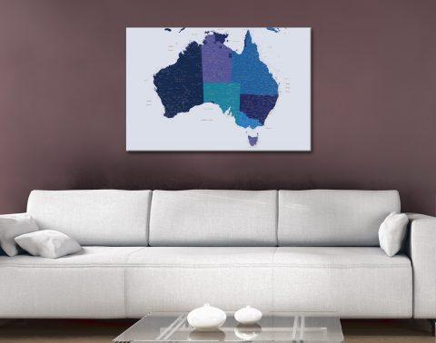 Australian Map Wall Art in Blue For Sale Online