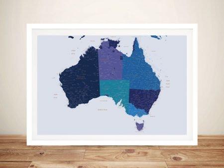 Buy a Blue & Gold Framed Map of Australia