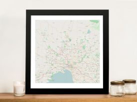 Melbourne City Map Framed Wall Art Australia